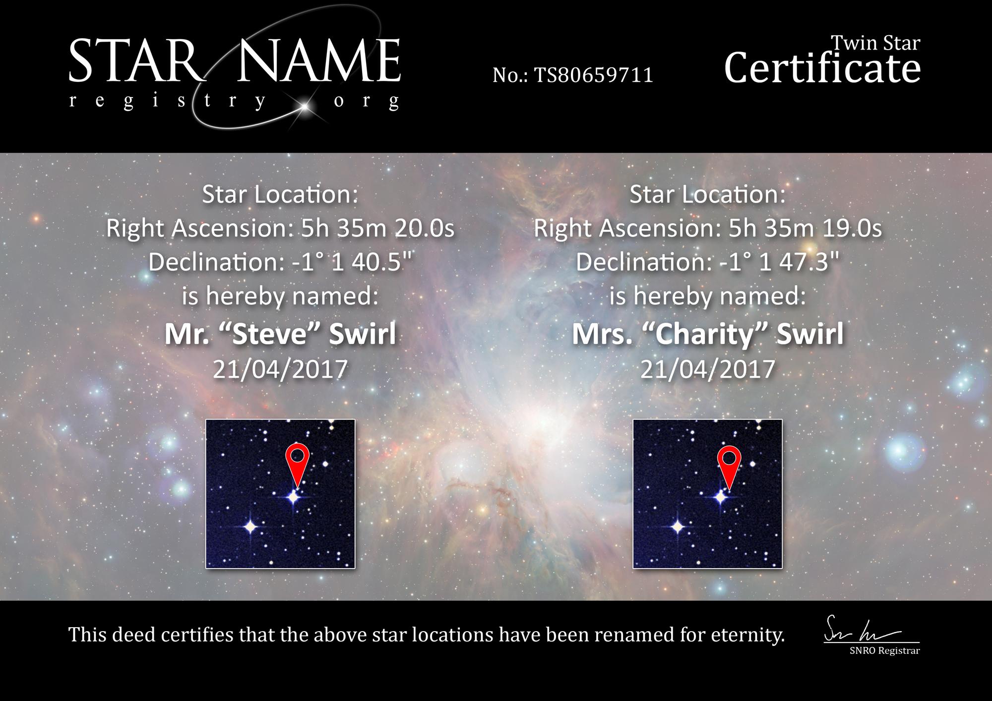 Stachini Stars Certificate Mr Mrs Swirl
